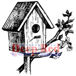 Deep Red Stamps - Cling Mounted Rubber Stamp - Rustic Birdhouse