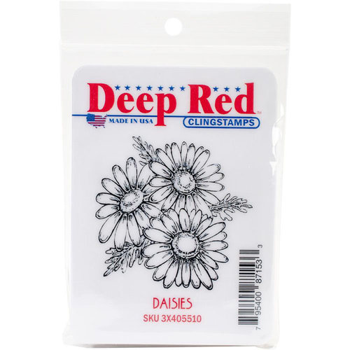 Deep Red Stamps - Cling Mounted Rubber Stamp - Daisies