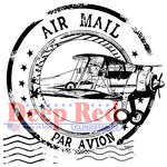 Deep Red Stamps - Cling Mounted Rubber Stamp - Airmail Postmark