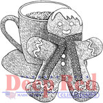 Deep Red Stamps - Christmas - Cling Mounted Rubber Stamp - Gingerbread Man and Cocoa
