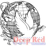 Deep Red Stamps - Cling Mounted Rubber Stamp - World Peace