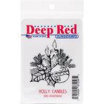 Deep Red Stamps - Christmas - Cling Mounted Rubber Stamp - Holly Candles