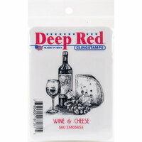 Deep Red Stamps - Cling Mounted Rubber Stamp - Wine and Cheese