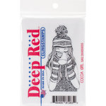 Deep Red Stamps - Cling Mounted Rubber Stamp - Cocoa Girl