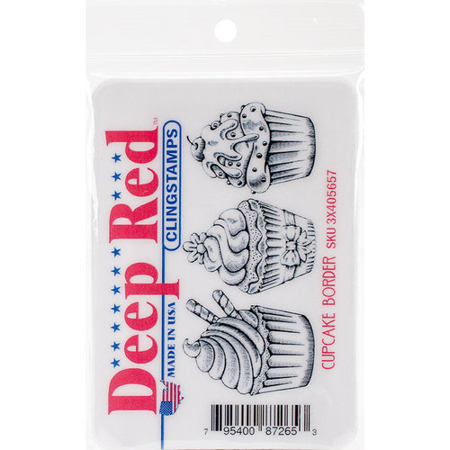 Deep Red Stamps - Cling Mounted Rubber Stamp - Cupcake Border