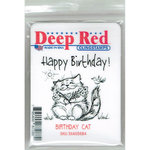Deep Red Stamps - Cling Mounted Rubber Stamp - Birthday Cat