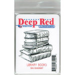 Deep Red Stamps - Cling Mounted Rubber Stamp - Library Books
