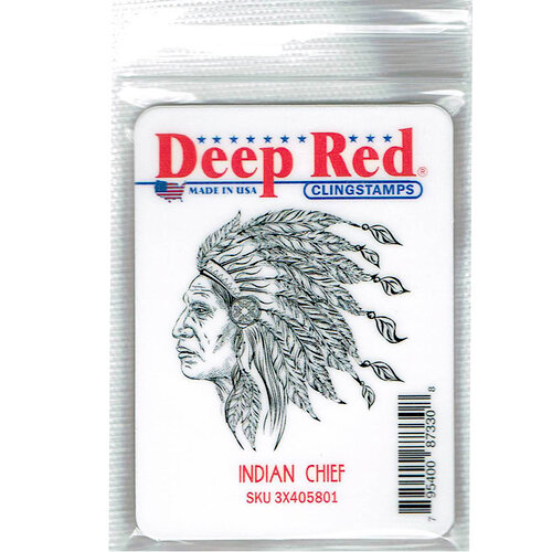 Deep Red Stamps - Cling Mounted Rubber Stamp - Indian Chief