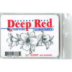 Deep Red Stamps - Cling Mounted Rubber Stamp - Lily Border