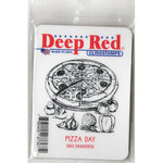 Deep Red Stamps - Cling Mounted Rubber Stamp - Pizza Day