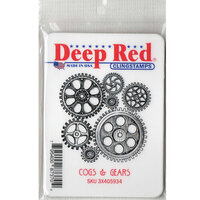 Deep Red Stamps - Cling Mounted Rubber Stamp - Cogs and Gears