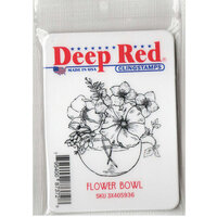 Deep Red Stamps - Cling Mounted Rubber Stamp - Flower Bowl