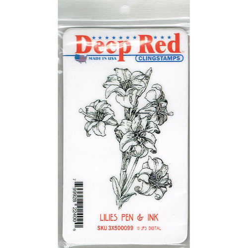 Deep Red Stamps - Cling Mounted Rubber Stamp - Lilies Pen and Ink
