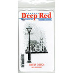 Deep Red Stamps - Cling Mounted Rubber Stamp - Winter Church