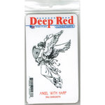 Deep Red Stamps - Cling Mounted Rubber Stamp - Angel with Harp