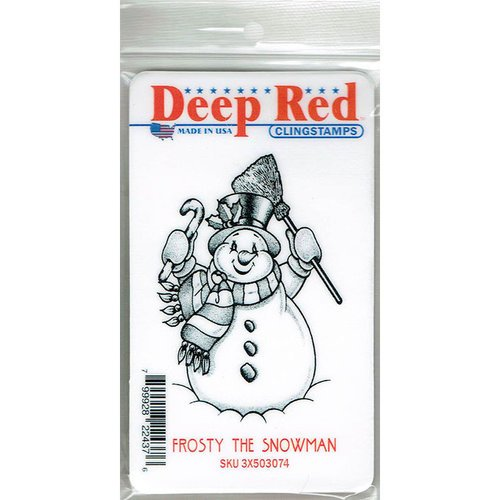 Deep Red Stamps - Cling Mounted Rubber Stamp - Frosty the Snowman