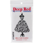 Deep Red Stamps - Cling Mounted Rubber Stamp - Dress Form Flourish