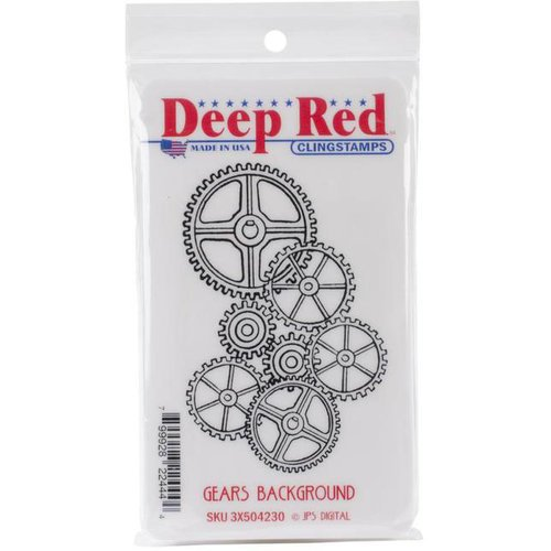 Deep Red Stamps - Cling Mounted Rubber Stamp - Gears Background