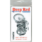 Deep Red Stamps - Cling Mounted Rubber Stamp - Early Motorcycle