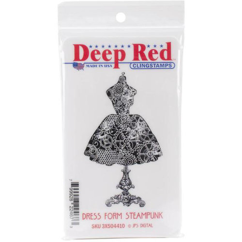 Deep Red Halloween Dress Form Rubber Cling Stamp
