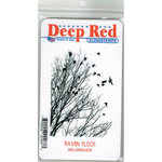 Deep Red Stamps - Cling Mounted Rubber Stamp - Raven Flock