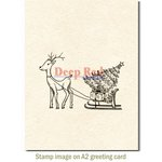 Deep Red Stamps - Christmas - Cling Mounted Rubber Stamp - Reindeer with Gifts