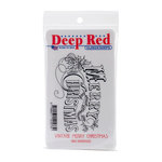 Deep Red Stamps - Cling Mounted Rubber Stamp - Vintage Merry Christmas