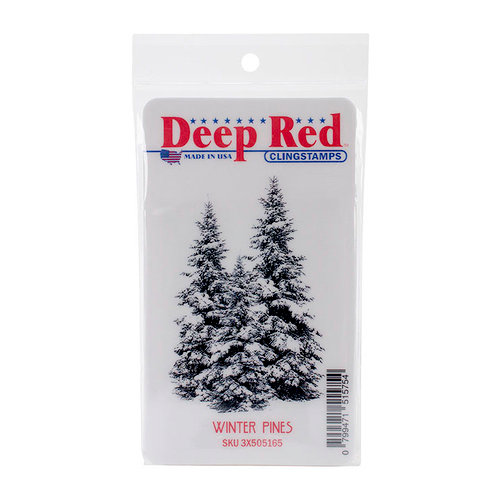 Deep Red Stamps - Cling Mounted Rubber Stamp - Winter Pines