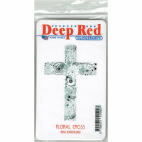Deep Red Stamps - Cling Mounted Rubber Stamp - Floral Cross