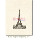 Deep Red Stamps - Cling Mounted Rubber Stamp - Vintage Paris Eiffel Tower