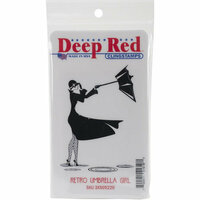 Deep Red Stamps - Cling Mounted Rubber Stamp - Retro Umbrella Girl