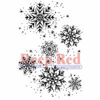 Deep Red Stamps - Cling Mounted Rubber Stamp - Snowflake Background
