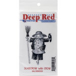 Deep Red Stamps - Halloween - Cling Mounted Rubber Stamp - Scarecrow with Crow