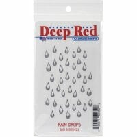 Deep Red Stamps - Cling Mounted Rubber Stamp - Rain Drops