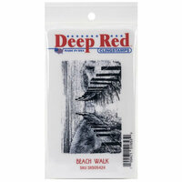 Deep Red Stamps - Cling Mounted Rubber Stamp - Beach Walk