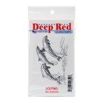 Deep Red Stamps - Cling Mounted Rubber Stamp - Dolphins