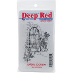 Deep Red Stamps - Cling Mounted Rubber Stamp - Garden Doorway