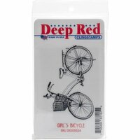 Deep Red Stamps - Cling Mounted Rubber Stamp - Girls Bicycle