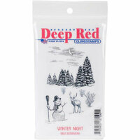 Deep Red Stamps - Christmas - Cling Mounted Rubber Stamp - Winter Night