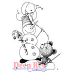 Deep Red Stamps - Christmas - Cling Mounted Rubber Stamp - Snowman Garland