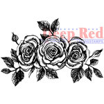 Deep Red Stamps - Cling Mounted Rubber Stamp - Rose Border