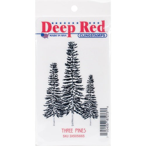 Deep Red Stamps - Christmas - Cling Mounted Rubber Stamp - Three Pines