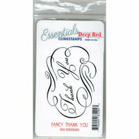 Deep Red Stamps - Cling Mounted Rubber Stamp - Fancy Thank You Essentials