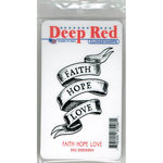 Deep Red Stamps - Cling Mounted Rubber Stamp - Faith Hope Love