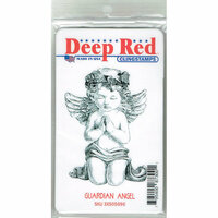 Deep Red Stamps - Cling Mounted Rubber Stamp - Guardian Angel