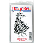 Deep Red Stamps - Cling Mounted Rubber Stamp - Windy Day Girl