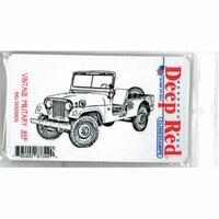 Deep Red Stamps - Cling Mounted Rubber Stamp - Vintage Military Jeep