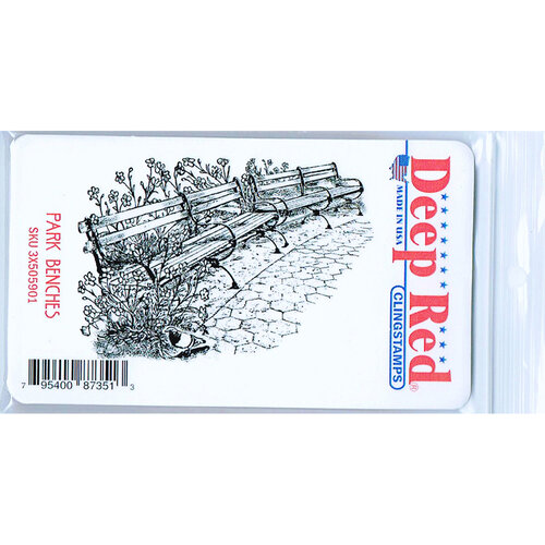 Deep Red Stamps - Cling Mounted Rubber Stamp - Park Benches