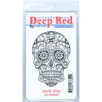 Deep Red Stamps - Cling Mounted Rubber Stamp - Sugar Skull