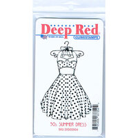Deep Red Stamps - Cling Mounted Rubber Stamp - 50s Summer Dress